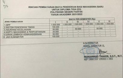 Pengumuman Pendaftaran Ulang MABA & Rincian Biaya Jalur SBMPN 2021